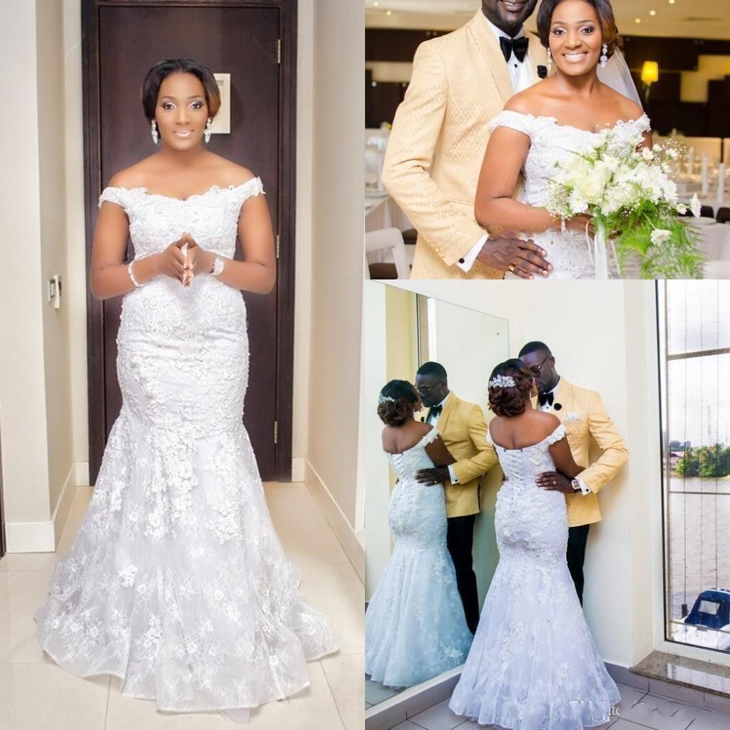 Plus size summer wedding dresses  Plus Size Arabic Mermaid Wedding Dresses Off Shoulder Floor Long