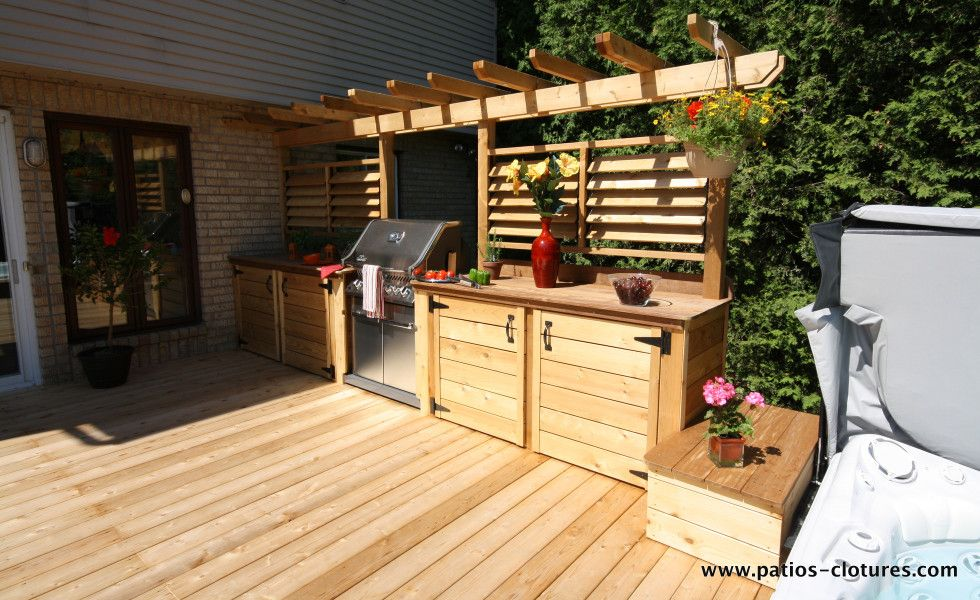 beautiful outdoor kitchen area with bbq and louvered fence for extra controlled privacy on outdoor kitchen on deck id=64056