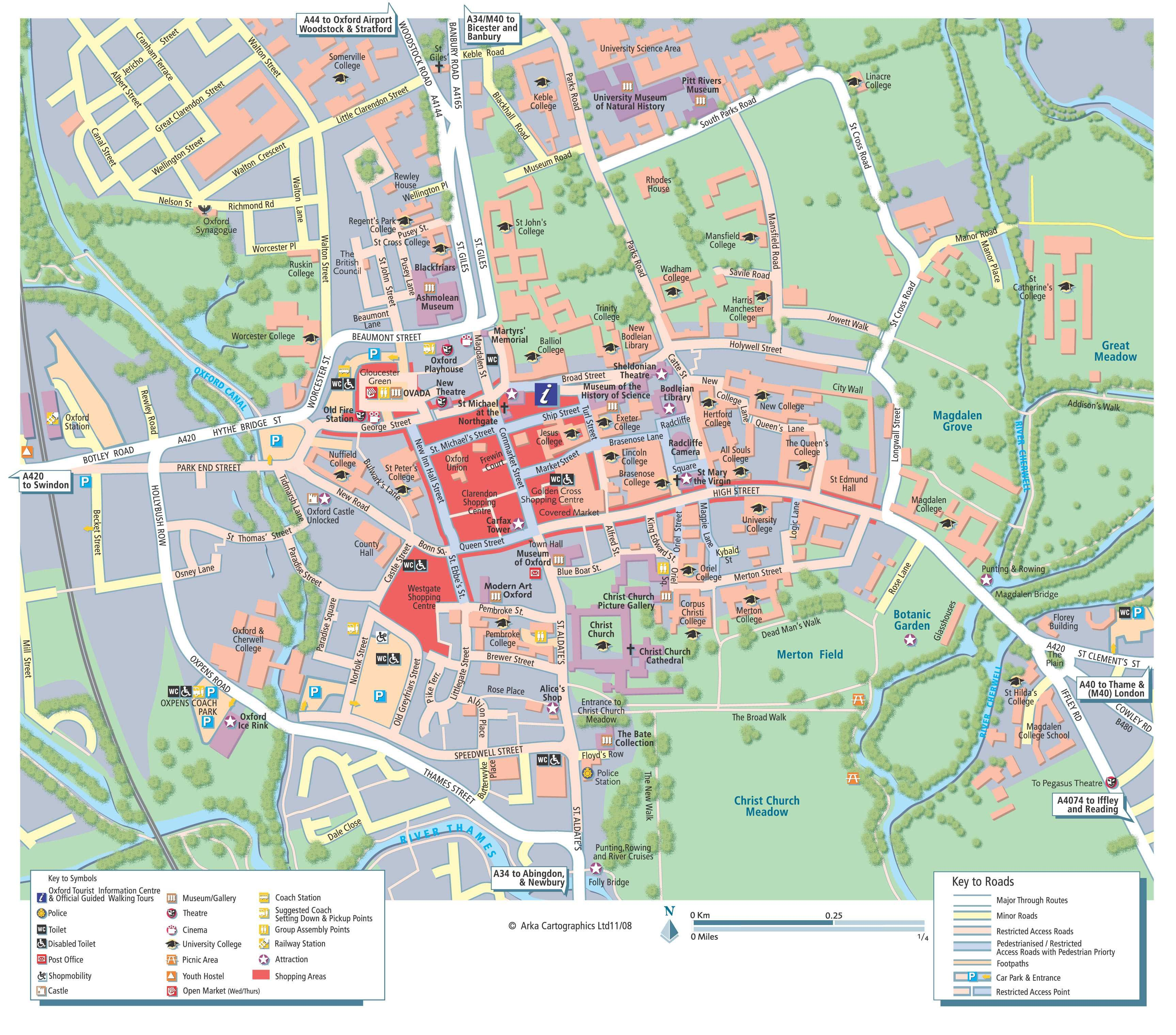 London Tourist Map To Print.Detailed Map Of Oxford For Print Or Download Oxford Oxford Map