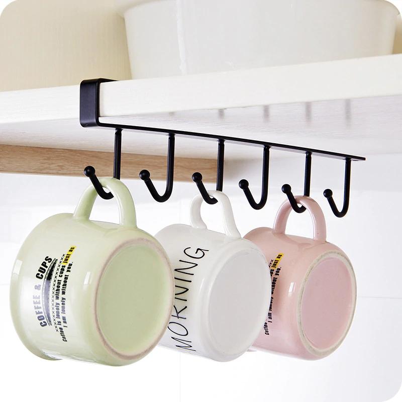 6 Hook Cup Holder Mug Hang Cabinet Rack Kitchen D//S Shelf Organizer Storage
