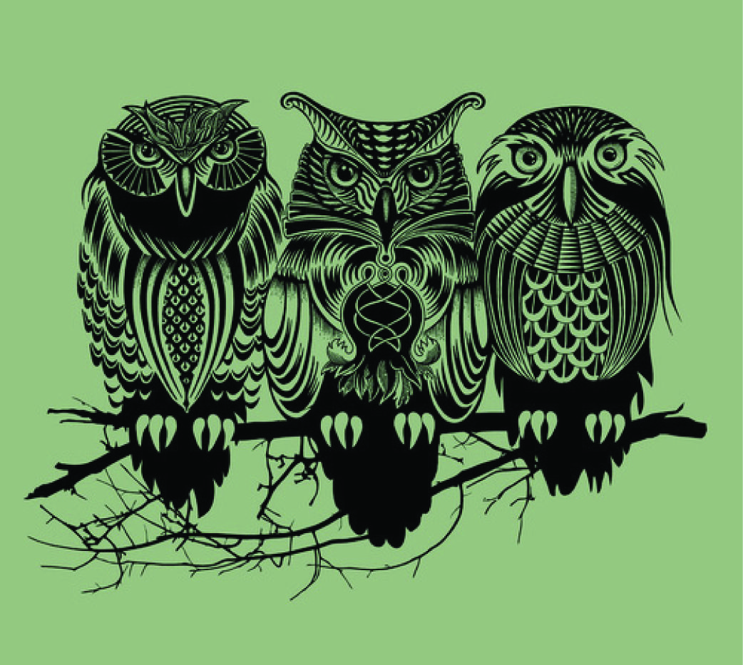 This is a really nice illustration because of the use of balance and weight of the lines used to make up the three owls. It has excellent form and placement to create a nice balanced image.