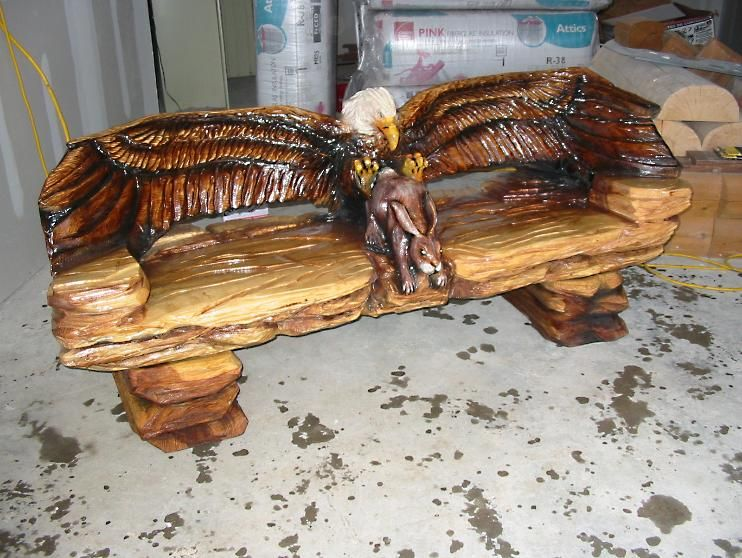 CARVED CHAINSAW BENCHES | schedule to complete finished. Available wood types vary)