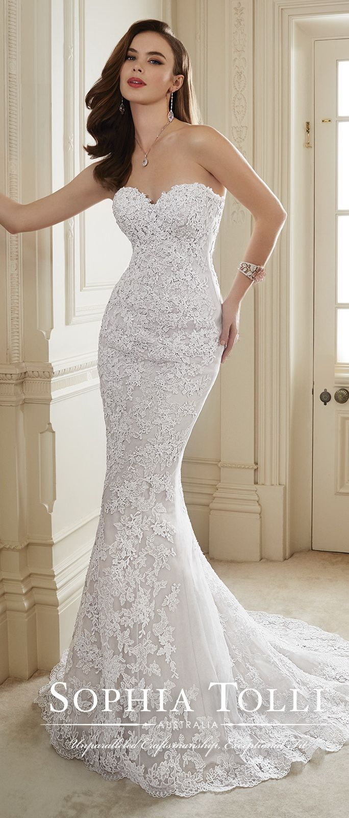 Sophia Tolli Strapless Sweetheart Lace Mermaid Bridal Gown 2016 ...