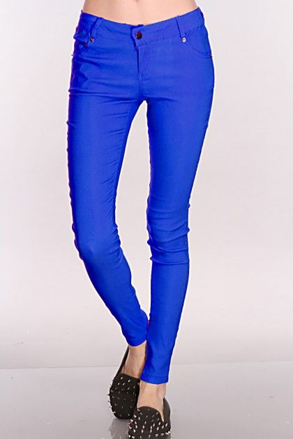 Royal Blue Stretch Fit Skinny Jeans | Bright blue jeans, Pants