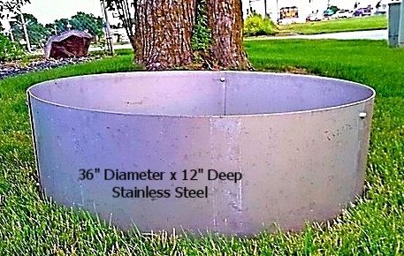 Stainless Steel Fire Pit Ring Insert 36 X 12 Etsy Steel Fire Pit Ring Fire Pit Essentials Stainless Steel Fire Pit