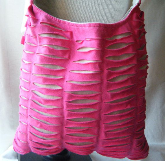 Pink Upcycled/Recycled Tshirt Cross Body Bag by olddirtyteebags, $24.00