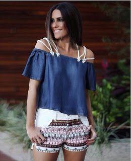 80e36a759c Closet Lit  Shorts Bordado e Blusa Jeans Ombro a Ombro Mais
