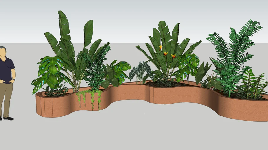 Photo of planter organic shaped with plants indoor