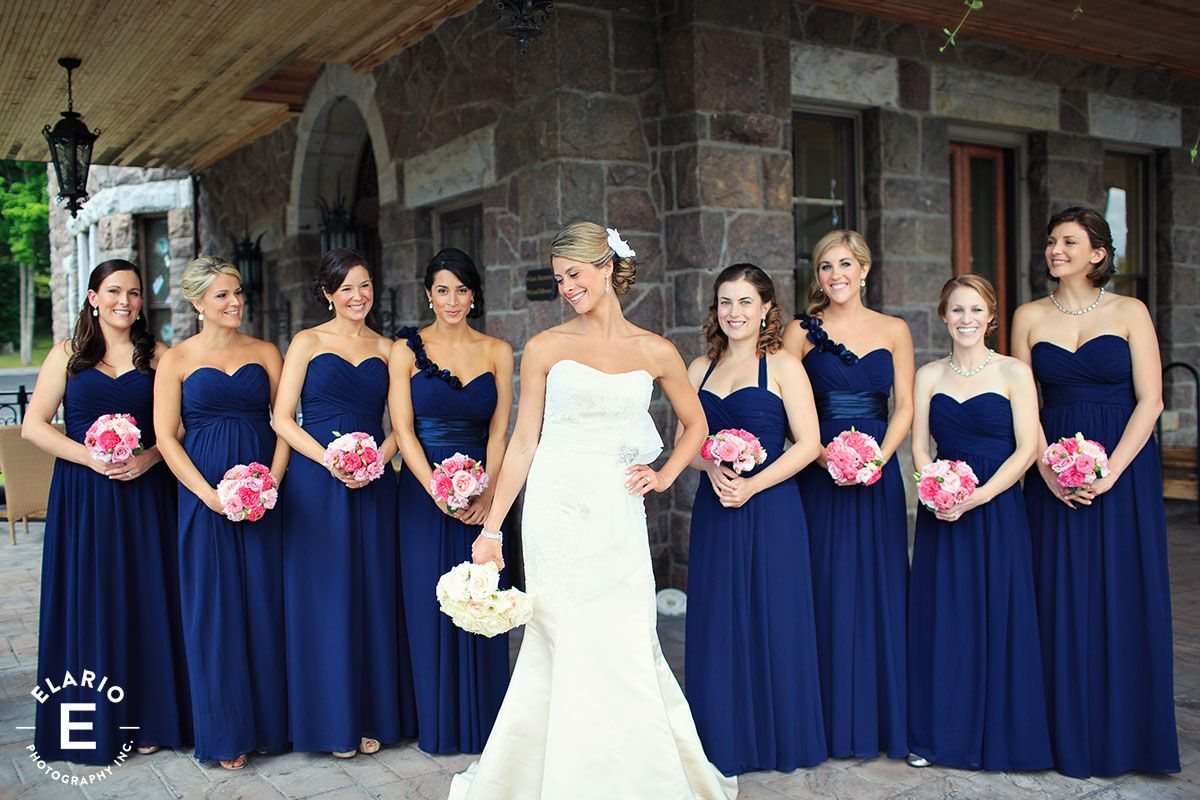 Inn at erlowest wedding photos navy bridesmaids hot pink bouquet bridal parties navy bridesmaid dresses ombrellifo Gallery