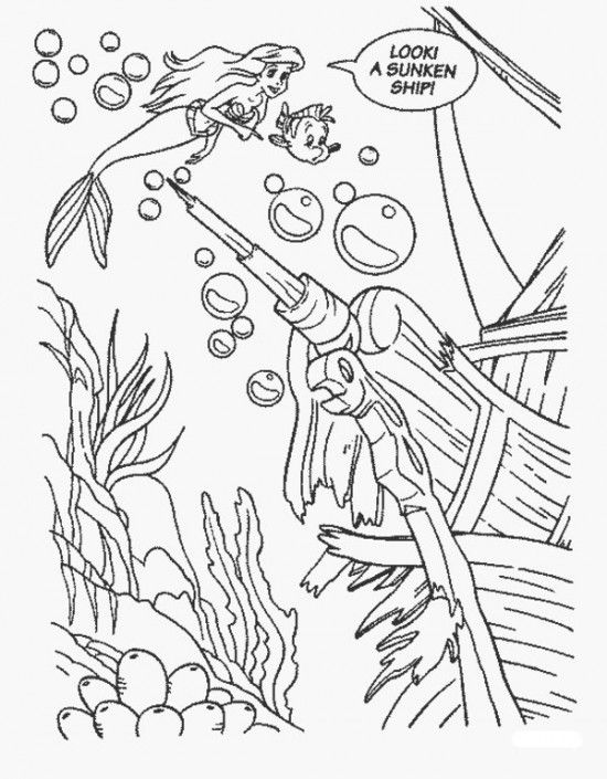 Coloring Pages of Ariel The Little Mermaid Picture 1 550x705 Picture ...