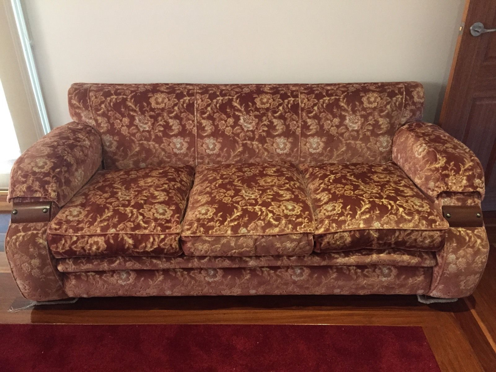 Art Deco Lounge Suit 3 Seater And 2 Arm Chairs In Antiques Furniture Sofas Chaises Ebay