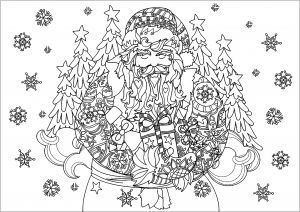 santa claus with gifts and trees  christmas coloring pages for adults  just color  christmas