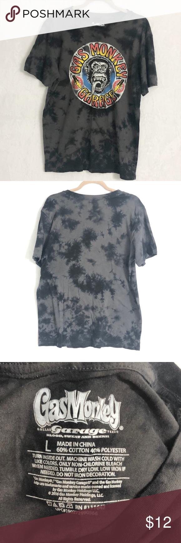 Gas Monkey Garage T-shirt size L Tie dye design with Gas Monkey logo  EUC Size L Gas Monkey Garage Shirts Tees - Short Sleeve #gasmonkeygarage