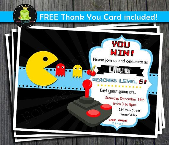 Free Printable Bowling And Arcade Party Invitation Orderecigsjuice - Party invitation template: video game birthday party invitation template free
