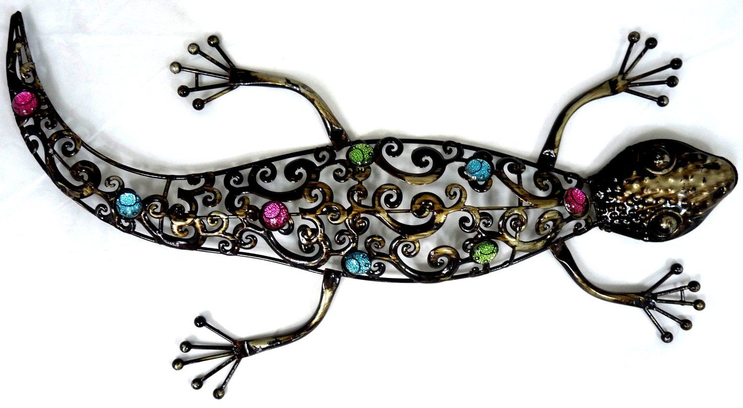 Large dark metal wall art hanging gecko amazon kitchen