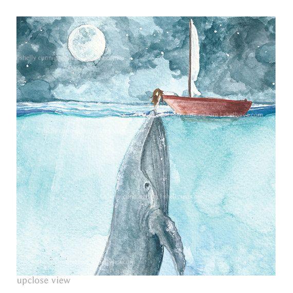 Herz des Meeres - Wal- und Mädchenaquarellillustrationsdruck. Wunderliche Ozeankunst, Seedekor