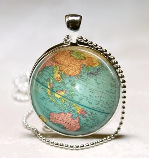 Vintage globe necklace map jewelry world travel planet earth art vintage globe necklace map jewelry world travel planet earth art pendant gumiabroncs Choice Image