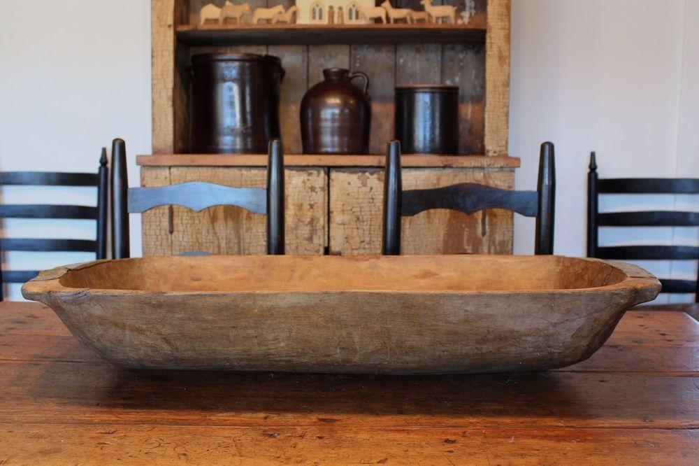 Antique Large Primitive Wooden Trencher Dough Bowl Oblong