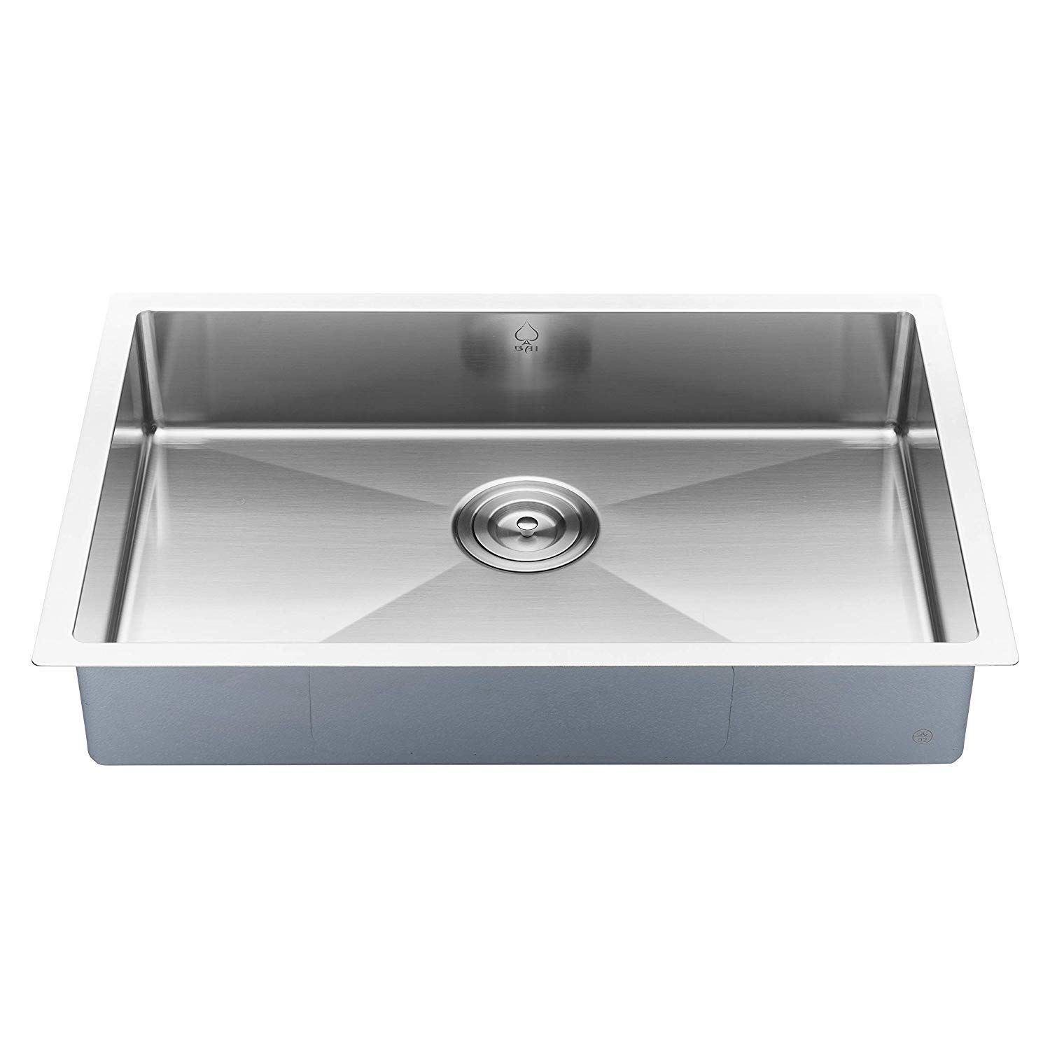 Bai 1247 27 Shallow Handmade Stainless Steel Kitchen Sink Single Bowl Under Mount 16 Gauge Amazon Com Porcelain Kitchen Sink Single Bowl Kitchen Sink Sink