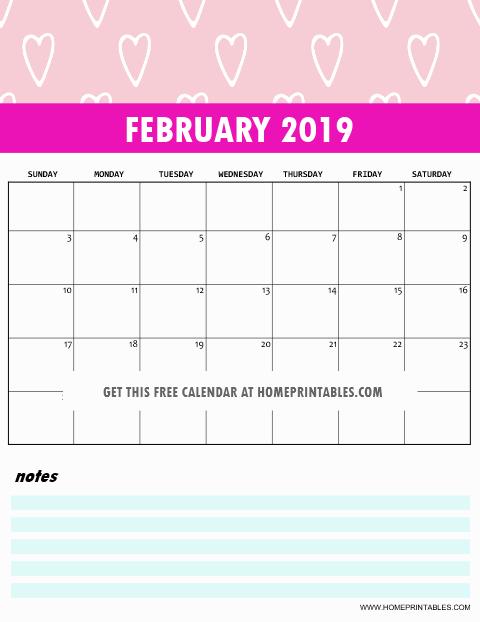 February 2019 Calendar Pink Design Free February 2019 Calendar