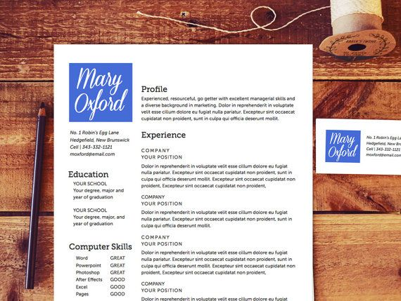 Resume Template  The Oxford Resume Design Instant Download