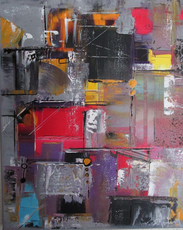 Peinture moderne acrylique color e gris rose violet jaune - Peinture tableau noir brico ...