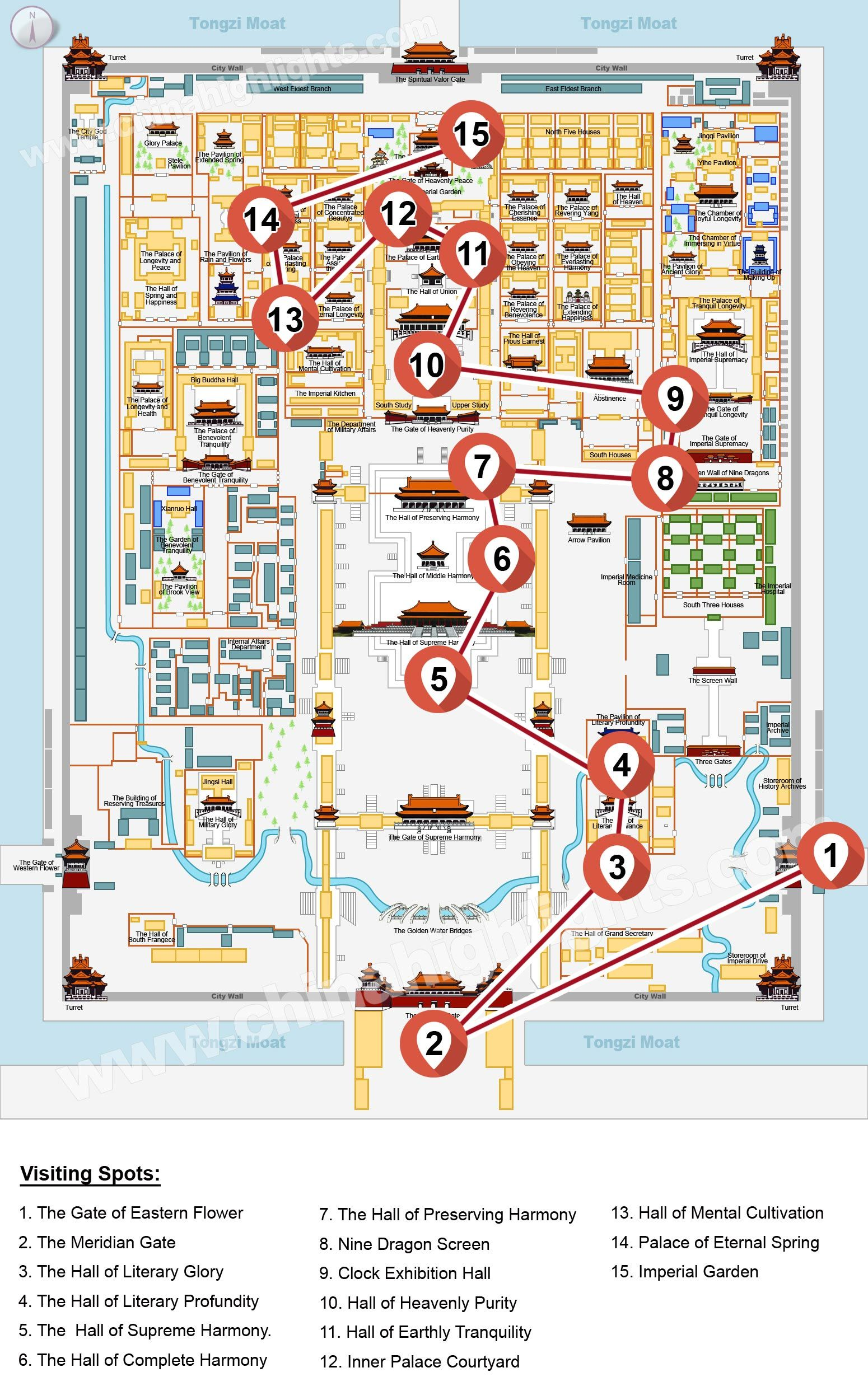 China Highlights Forbidden City Heritage Walk Tour Map Travel
