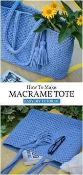 DIY Macrame Tote Beach Bag  DIY Hippie DIY Muster