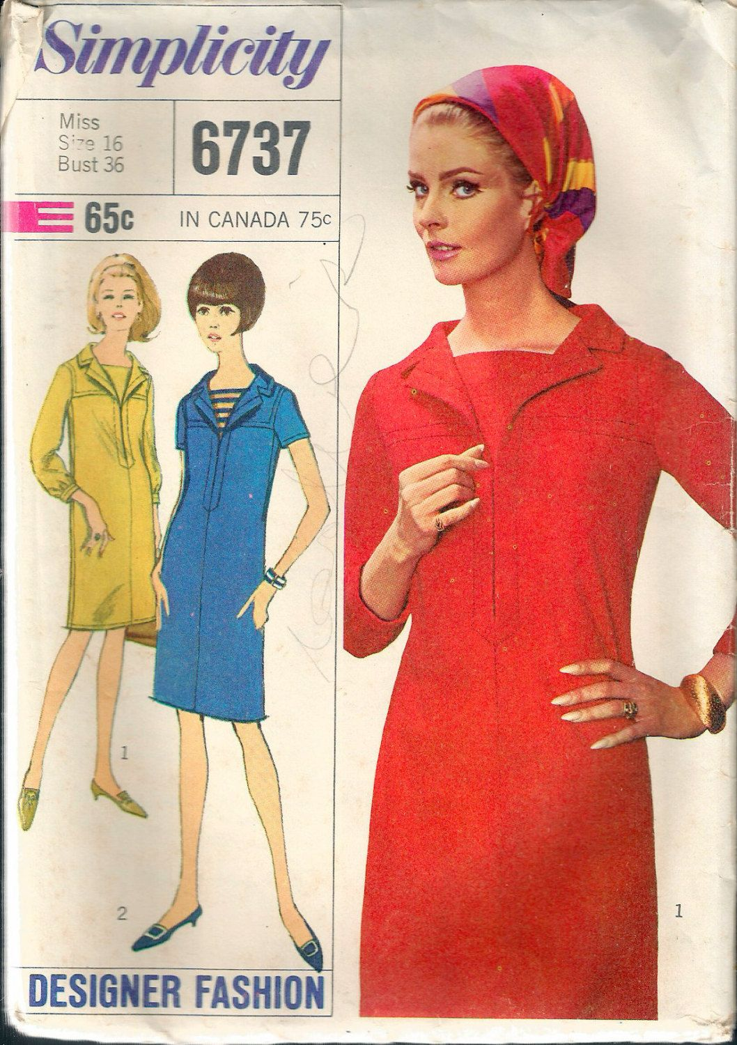 Vintage 1966 Simplicity 6737 Designer Fashion One-Piece Dress Sewing ...