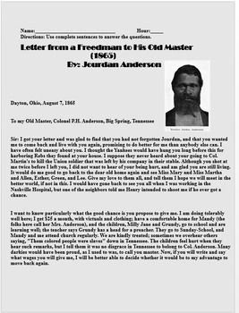 Letter From A Freedman To His Old Master.Reconstruction Worksheet Letter From A Freedman To His Old Master