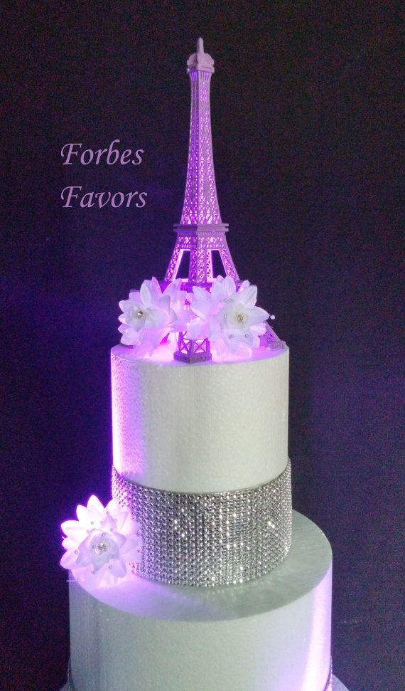 10 Inch Purple Metal Eiffel Tower Paris Theme Weding Cake Topper With Mini Led Light Welcome To What A Great Addition Your And