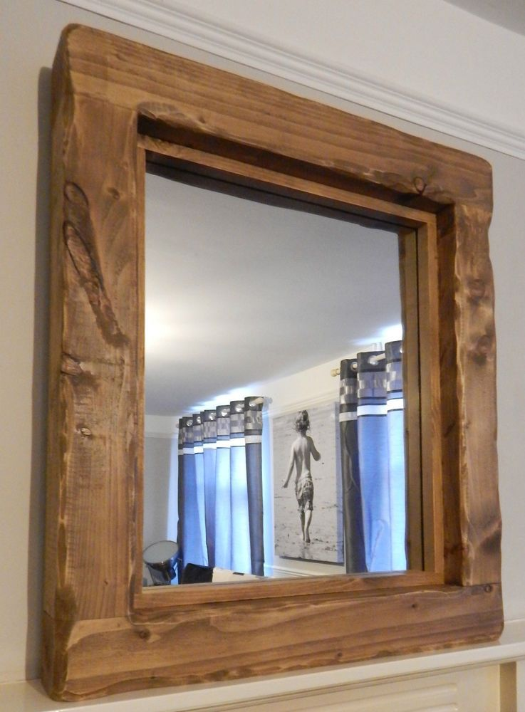Details about mirror large reclaimed wooden rustic