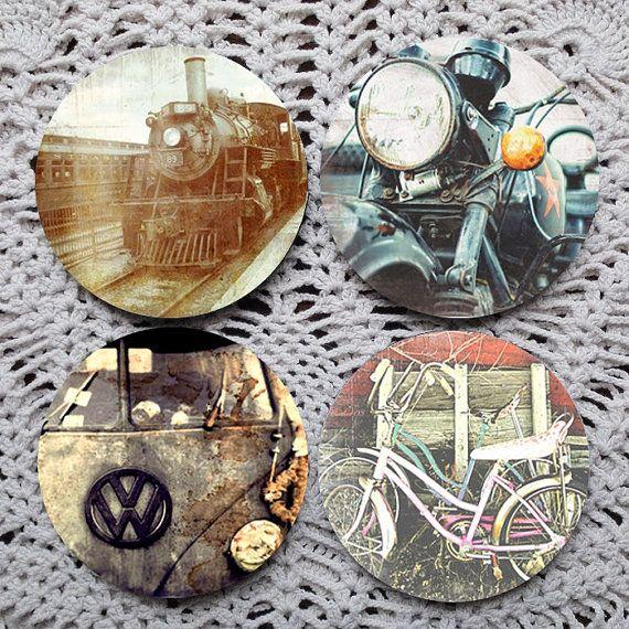 Wheels  Vintage Inspired Image Mousepad Coaster Set coasters by Polkadotdog