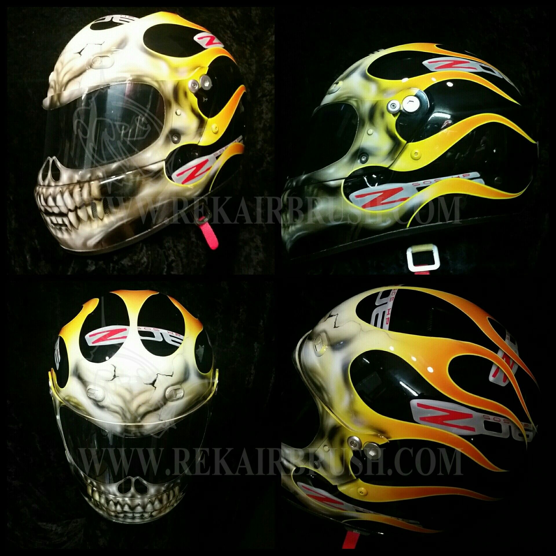 TRUE FIRE SKULL HOT ROD FLAMES ON SHOEI MOTORCYCLE HELMET by