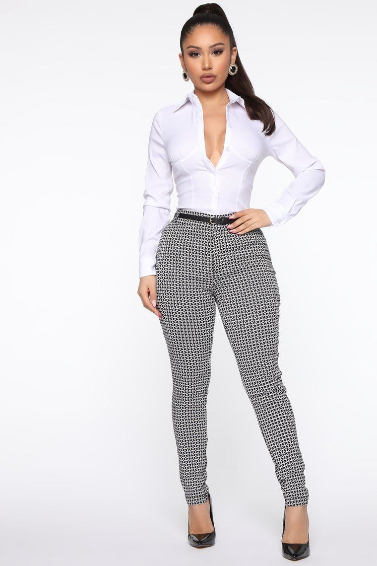 No Grey Areas Straight Forward Skinny Pant Black White In 2020 Fashion Nova Outfits Work Outfits Women Classy Work Outfits