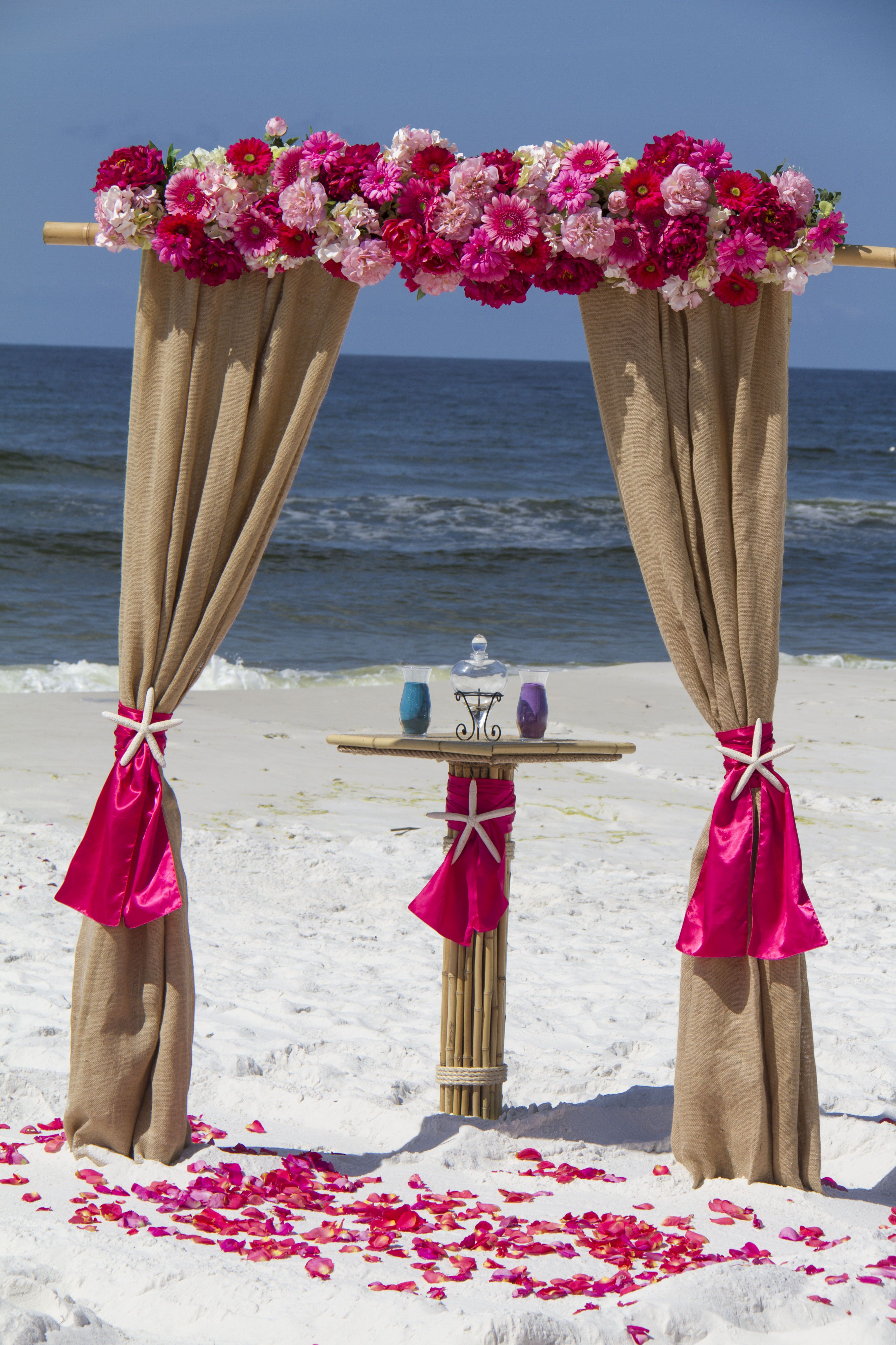 Barefoot Weddings 2 Post Bamboo Arbor Draped With Burlap
