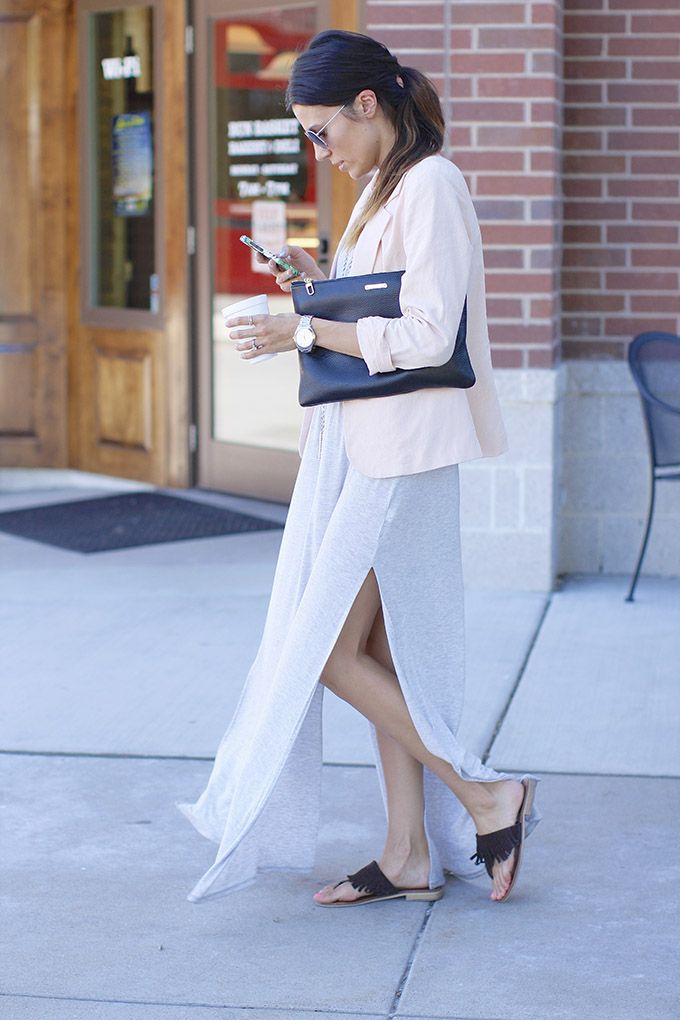 Casual chic in ivory maxi dress, blush linen jacket  fringe sandals #StreetStyle