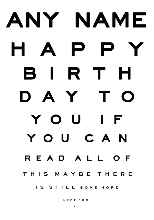 Eye Chart Old Age Funny Personalised Birthday Card Funny