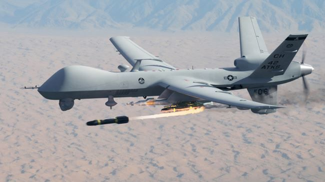 An MQ 9 Reaper Drone Operated By The US Military Fires A Hellfire Missile Being There So You Dont Have To