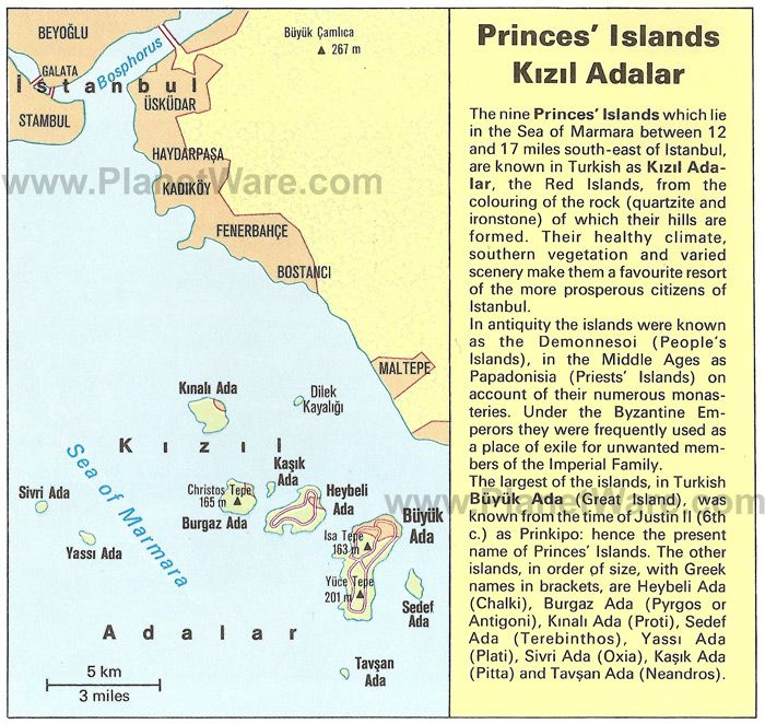 princes islands kizil adalar map tourist attractions