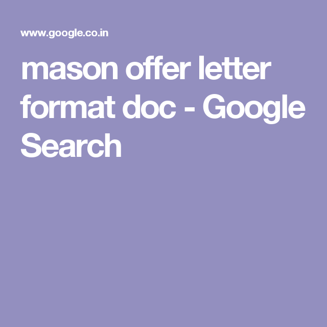 Mason Offer Letter Format Doc  Google Search  Business Company