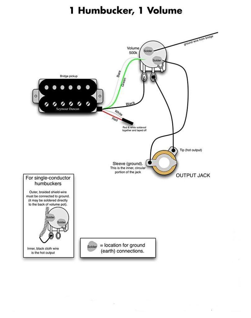 one humbucker volume wiring diagram