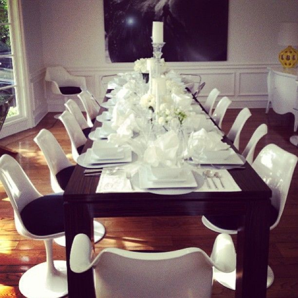 White tulip chairs.