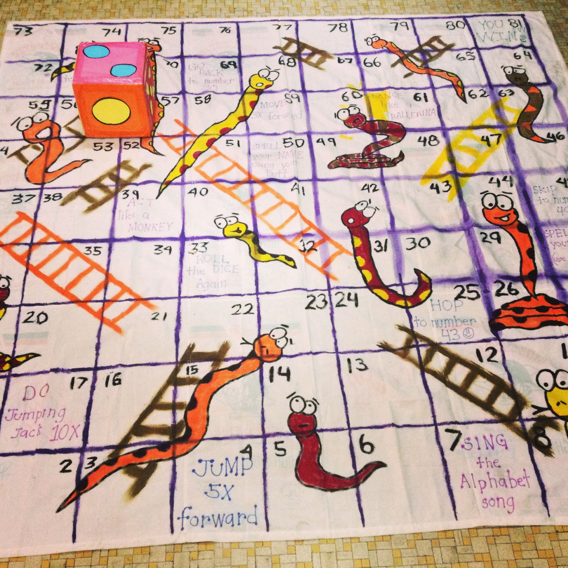This Is A Floor Snakes Amp Ladder Game Made Of Muslin Cloth