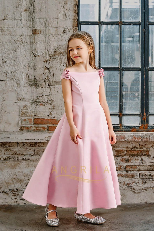 e7772b17ecb A-line Off-the-Shoulder Satin Junior Flower Girl Dresses