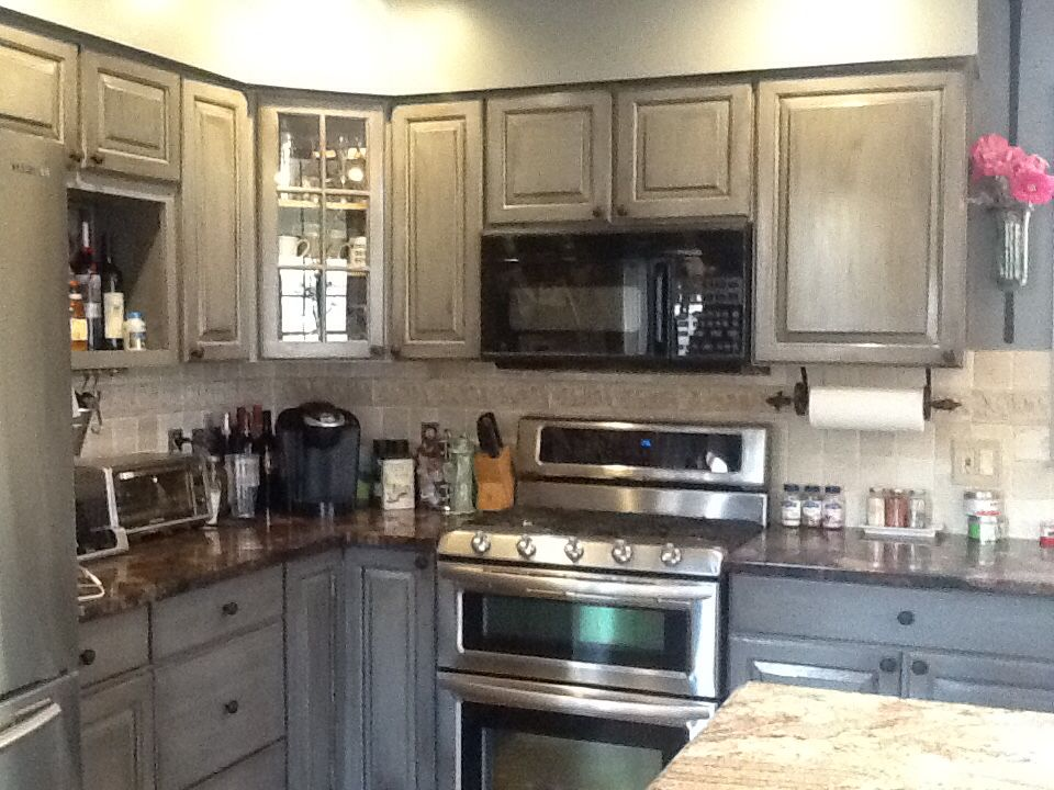 DIY grey distressed cabinets. It was cherry pinkish white ...