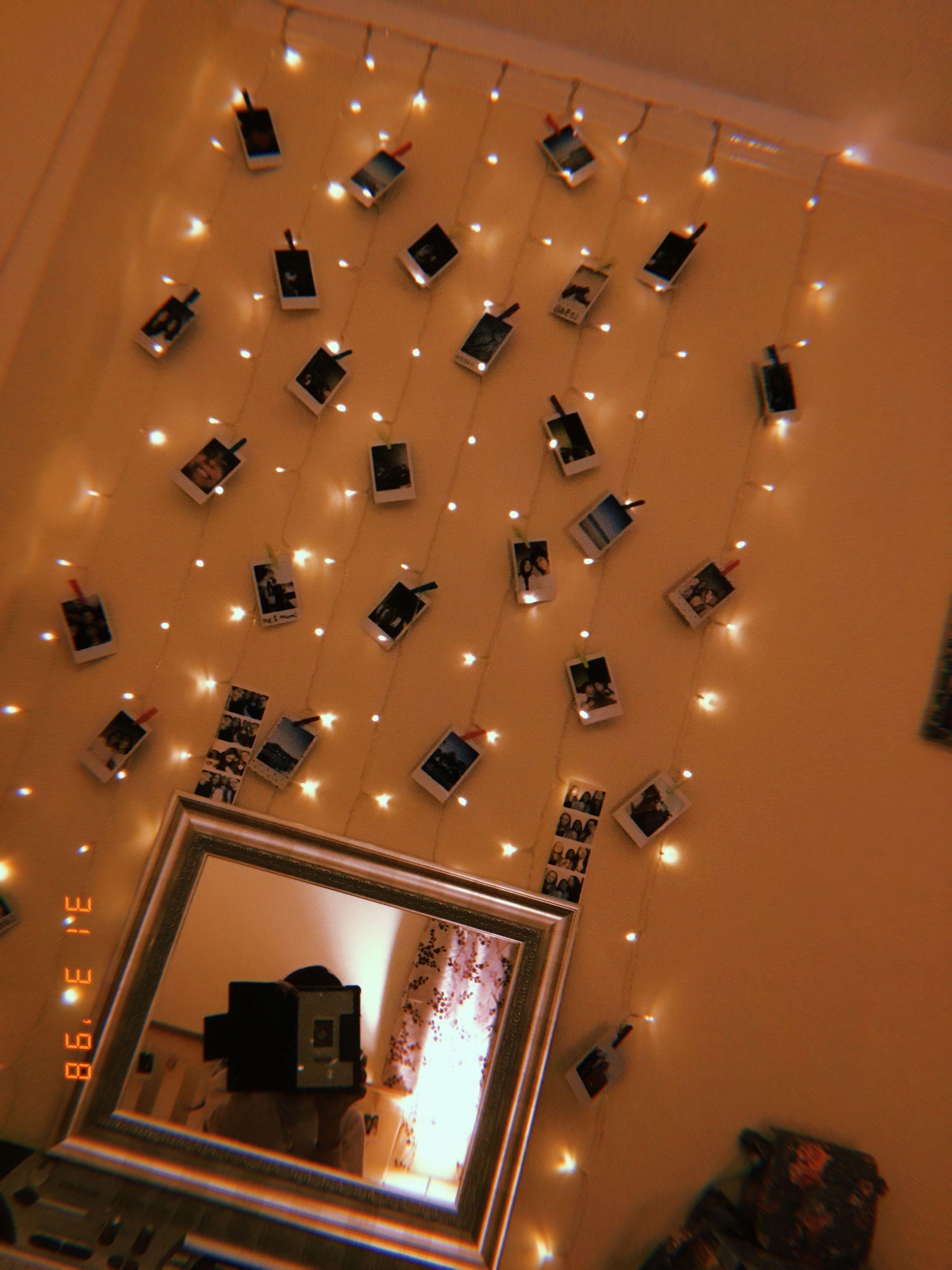 Fairy Lights Polaroid Display Tumblr Bedroom Aesthetic Decor Polaroid Display Polaroid Displ In 2020 Fairy Lights Bedroom Diy Room Decor For Teens Polaroid Display