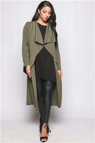 Chloe Khaki Long Length Waterfall Jacket | Winter fashion ...
