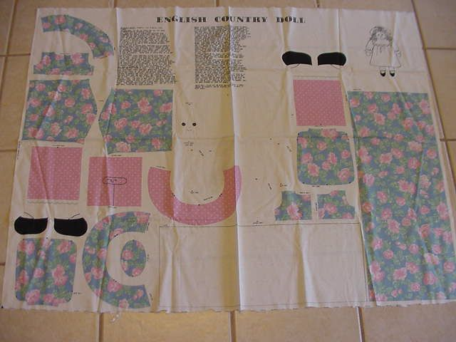 Vintage Fabric Panel English Country Doll Cut by grannigertsattic