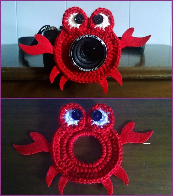 12 DIY Crochet Camera buddy Free Pattern Round Up #crochetcamera DIY Crochet Camera buddy Pattern Round Up - crab lens shutter buddy  #Crochet #crochetcamera
